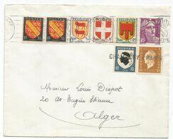 BLASON 10C CORSE + DULAC 30C AMBULANT GRIFFE CHAMBERY A PARIS LETTRE + GANDON BLASON LYON GARE 28.4.1953 - Storia Postale