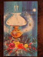 Cp Double, Bonne Année (1984), Lampe, Boules, Sapin, éd Stella Carte 61 758, écrite (14 X 8,5) - Anno Nuovo