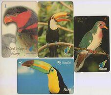 Singapore Old Phonecards Birds Singtel  . 4 Cards - Birds