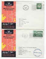 1957 - GB - ENVELOPPES 1° VOL BOAC  De LONDON => NEW YORK (USA) ALLER ET RETOUR - Covers & Documents