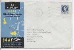 1957 - GB - ENVELOPPE 1° VOL BOAC De LONDON => SYDNEY (AUSTRALIA) - Covers & Documents