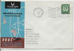 1957 - GB - ENVELOPPE 1° VOL BOAC De LONDON => JOHANNESBURG (SOUTH AFRICA) - Covers & Documents