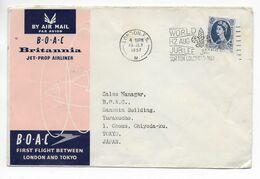 1957 - GB - ENVELOPPE 1° VOL BOAC De LONDON (MECA JAMBOREE SCOUT !) => TOKYO (JAPAN) - Covers & Documents