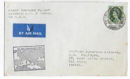 1957 - GB - ENVELOPPE 1° VOL BEA De LONDON => TEL AVIV (ISRAEL) - Covers & Documents