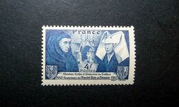 FRANCE 1943 N°583 ** (NICOLAS ROLIN ET GUIGONE DE SALINS, FONDATEURS DE L'HOSTEL-DIEU DE BEAUNE. 4F BLEU) - Ungebraucht