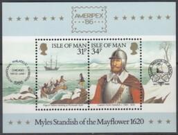 ISLE OF MAN Block 8, Postfrisch **, Historische Verbindung Mit Amerika 1986 - Man (Insel)
