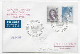 1956 - FINLANDE - ENVELOPPE 1° LIAISON AERIENNE FINNAIR De HELSINKI => MOSCOU - Covers & Documents