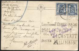50c Petit Sceau(2) Obl. ST GHISLAIN S/CP Vers L'Allemagne 30/10/41. RETOUR NON ADMIS / TERUG NIET TOEGELATEN - Lettres