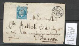 France -Lettre De BASTIA - Corse - 1866 - Petit Chiffre Du Gros Chiffre - 338 Pour Chiavari - Postmark Collection (Covers)