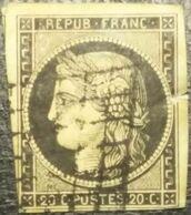 FRANCE Y&T N°3b Cérès 20c Noir Sur Chamois  Oblitéré Grille - 1849-1850 Ceres