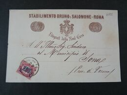 """4922 ITALIA Regno-1878- """"Ondine"""" C. 2 Su 2,00 ROMA>SONA Bruno E Salomone (descrizione) - Storia Postale"""