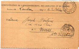 Lettre De L'Adm. De L'Enr. Des Domaines Et Du Timbre Bureau De LAMBESC Pour NOVES-Cachet Imprimé PP 22(2167 ASO) - Poststempel (Briefe)