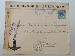 Enveloppe  De Amsterdam à Paris 1915 Ouvert Par L'autorité Militaire Controle Postal Dieppe - Guerra 1914-18