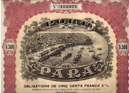 PORT Of  PARA Obligations De 500 Francs 5% - Navigation