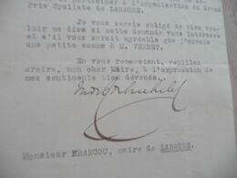 LAS Autographe Signée De Rothschild Maurice Sénateur De Alpes 1935 à Propos Du Grand Prix Cycliste De Laragne - Handtekening