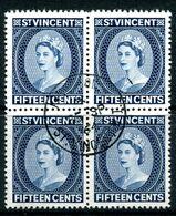 St Vincent 1964-65 QEII Definitives - Wmk. Crown CA - P.12½ - 15c Deep Blue Block Of 4 Used (SG 208) - St.Vincent (...-1979)
