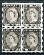 St Vincent 1964-65 QEII Definitives - Wmk. Crown CA - P.13x14 - 25c Black-brown Block Of 4 Used (SG 219) - St.Vincent (...-1979)