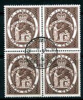 St Vincent 1964-65 QEII Definitives - Wmk. Crown CA - P.13x14 - 50c Chocolate Block Of 4 Used (SG 220) - St.Vincent (...-1979)