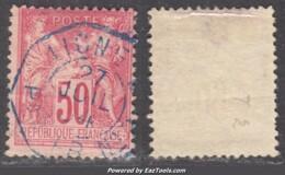 *RARE* 50c Sage Type II Cachet De LIGNE De PAQUEBOT En BLEU (Y&T N° 98, Cote +++€) - 1876-1898 Sage (Type II)