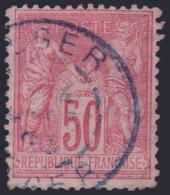 50c Sage Type II Rose Cachet ALGER En BLEU (Y&T N° 98, Cote +++€) - 1876-1898 Sage (Type II)