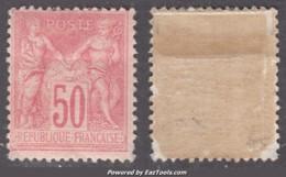 50c Sage Type II Rose Pâle Neuf * (Y&T N° 98a, Cote 275€) - 1876-1898 Sage (Type II)