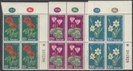 ISRAEL, 179-181. 4erBlock, Postfrisch **, Mit Auftrags- Und Bogennummer, 11 Jahre Unabhängigkeit: Blumen., 1959 - Israel