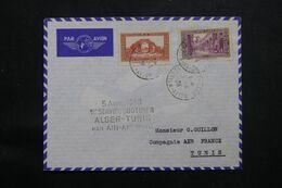 ALGÉRIE - Enveloppe Du 1èr Service Quotidien Aérien De Alger / Tunis En 1938  - L 71719 - Lettres & Documents
