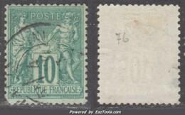 *RARE* 10c Sage Vert Au Type II (N/U) Aspect TB (Y&T N° 76, Cote 325€) - 1876-1898 Sage (Type II)
