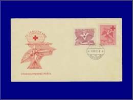 Croix Rouge - Année: 1949 - TCHECOSLOVAQUIE,YV. 521/2,ENV. ILL. 18/12/49:Colombe* - Cruz Roja