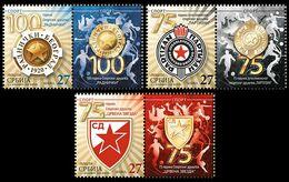Serbia 2020. Anniversary Sports Association Red Star Partizan Radnicki, Diving Volleyball Basketball Stamp+vignete MNH - Tauchen