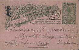 CP Entier Etat Indépendant Du Congo Carte Postale Réponse Vert Sur Rose 10ct CAD Bruxelles 14 4 1900 Taxe Annulée - Enteros Postales