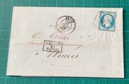 Gard - Alais - N°14 PC 38 - Cachet à Date Type 15: 22 Octobre1858 - Après Le Départ - Sans Texte - 1849-1876: Periodo Classico