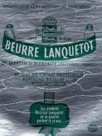Etiquette Fromage Feuille Papier Emballage Beurre Lanquetot  St Martin De Bienfaite Calvados 125g Maurice Lanquetot - Formaggio