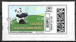 FRANCE     -     2020 .  Vignette Illustrée. Oblitéré .  Panda .  Sauver L' Environnement. - 2010-... Illustrated Franking Labels