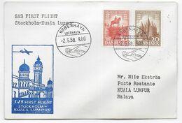 1958 - DANMARK - ENVELOPPE 1° LIAISON AERIENNE SAS De COPENHAGEN => KUALA LAMPUR (MALAYA) - Airmail