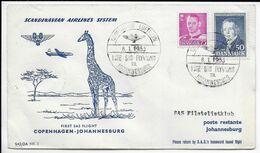 1953 - DANMARK - ENVELOPPE 1° LIAISON AERIENNE SAS De COPENHAGEN => JOHANNESBURG (SOUTH AFRICA) - Airmail