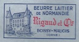 Etiquette Fromage Feuille Papier Emballage Beurre Laitier De Normandie 250g Rigaud Et Cie  Boissy Maugis Orne 61 Château - Formaggio
