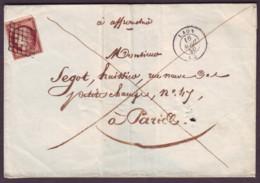 AISNE - LSC - Tàd T15 LAON (1850) + Grille Sur N° 6 (1fr Carmin Cérès Première émission) Pour Paris (60) - 1849-1876: Classic Period