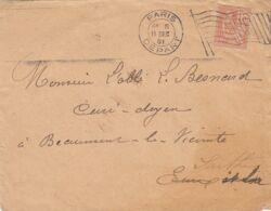 Oblit. - Drapeau RF Et Cachet Paris Départ - 11 Déc. 1901 - Pour Beaumont-le-Vicomte (72) Passage à Beaumont-le-Roger - Poststempel (Briefe)