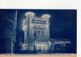 CPA -  EXPO ARTS DECORATIFS PARIS 1925 -  N° 12 -  LA TOUR DE CHAMPAGNE VUE DE NUIT - EDIT A . BREGER FRERES - - Mostre