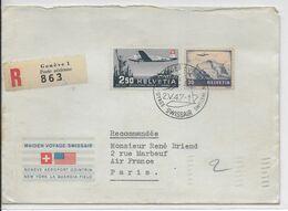 1947 - SUISSE - ENVELOPPE RECO 1° LIAISON AERIENNE MAIDEN VOYAGE SWISSAIR De GENEVE => NEW YORK (USA) - Erst- U. Sonderflugbriefe
