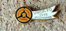 Pin's ROUTIERS - 6° Congrès 1993 UNCP-FO Blanc - Syndicats - émaillé à Froid époxy - Fabricant FOURNIER - Other