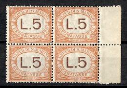 Saint-Marin Timbre Taxe YT N° 26 En Bloc De 4 Neufs ** MNH. TB. A Saisir! - Portomarken