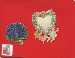 Jolie Chromos Decoupis Coeur Angelot 6,5 Cm  Bouquet Fleurs Violettes - Angels