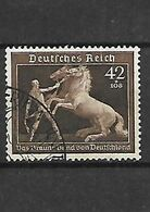 486-Allemagne III REICH-1939 6ème Ruban Brunv YT 639 Oblitéré - Germany