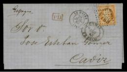 SEINE INFERIEURE - LAC - Tàd T15 LE HAVRE (1863) + GC 1769 Sur N° 23 -> Cadiz (Espagne)) - 1849-1876: Klassik