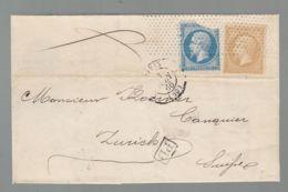 Oblit. - Oblitération Roulette Sans Fin Petits Points Sur Lettre De Paris Pour Zurich - Rectangle PD - 1849-1876: Klassik