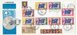 FRANCE - Env Recommandée Exprès Affr Multiple DRAPEAUX + 0,15 Nevers - 5ème Anniversaire TP Conseil Europe - Lettres & Documents