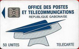 Gabon - OPT (Chip) - Logo (Blue) - 50Units, SC4 Afnor, Cn. C2Axxxxxx Embossed Red, Used - Gabun