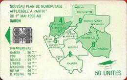 Gabon - OPT (Chip) - Map Of Gabon (Green) - 50Units, SC7, No Moreno, Cn. C61xxxxxx Embossed Red, Used - Gabun